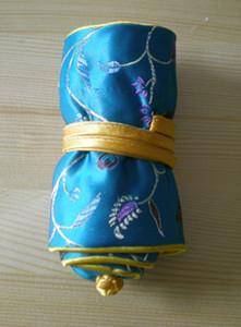 Yüksek Kaliteli Güzel Takı Roll Up Travel Çantası El Çin tarzı İpek brokar Çiçek 2 Halka Halat Gift için 3 Fermuar Torbalar Çanta
