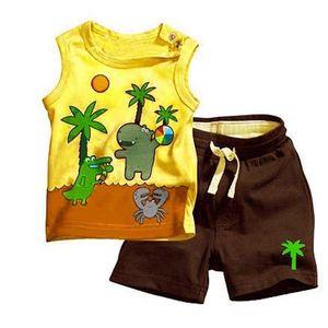 Menino coco padrão de árvore sem mangas Tops Pants 2PCS Set Outfits Clothes 0-3Y
