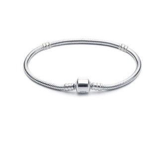 Оптовая продажа 16-21 см 925 серебристый браслет 3 мм цепной змеи цепной застежкой Fit Европейские бусы для пандоры браслет шарм шарнируют браслеты ювелирные изделия DIY