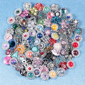 Mezclar muchos estilos 18 mm Noosa Chunks Metal Snap Button Charm Rhinestone Styles Snap Button Ginger Snaps joyería