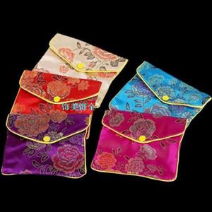 Barato Pequeño Zip Regalo de la Joyería Bolsa de Anillo de Pulsera Collar de Almacenamiento de Seda China Brocade Monedero de Artesanía Bolsa de Embalaje 6x8 8x10 10x12 cm