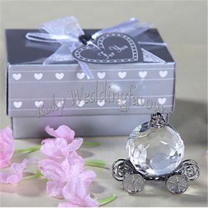 Free Shipping 50PCS Crystal Wedding Favors Cinderella Pumpkin Coach Events Gifts Fairytale Theme Baby Shower Birthday Ideas Crystal Carriage