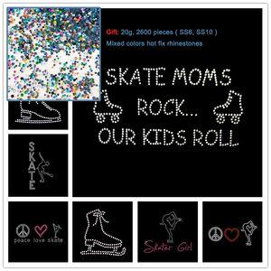 2pcs Skate Mamans Rock Nos Enfants Roll Skate Girl Fer Sur Transfert De Strass Hot Fix Applique Hotfix Motif