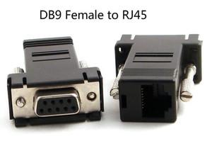 100pcs RS232 DB9 أنثى إلى RJ45 أنثى موصل محول لأجهزة الكمبيوتر دي في دي DVR جديد