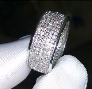 jóias Diamonique simulada diamante branco topázio completa 10KT ouro branco mulheres preencheram banda anel de casamento
