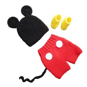 Tenue de souris très mignon dessin animé nouveau-né, chapeau fait à la main bébé garçon fille Animal Hat, Short et chaussons ensemble, Costume d'Halloween, Photo Prop Infant