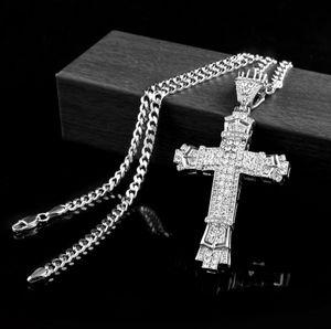 Argent Hip hop croix charme pendentif plein Ice out CZ simulé diamants catholique Crucifix Christian Pendentif Collier Avec Longue chaîne cubaine