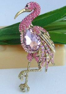 "Freebee 3,94 ""ouro-tom rosa strass flamingo broche pingente de pino 06620C5"