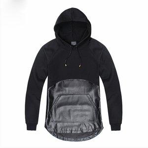 참신 블랙 어쌔신 신조 의류 패치 워크 디자인 PU 가죽 남성 후드 펑크 록 풀오버 성격 탑스