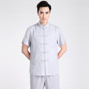 Livraison gratuite à manches courtes Tang costume traditionnel chinois Kung Fu chemise col mandarin Impression chemise chinoise Lin Top chinois