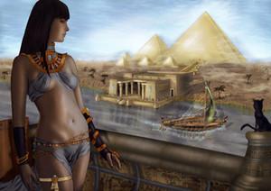A.414 Egitto Pyramids Il gatto Handpainted HD Wall Stampa Art Stampa originale pittura a olio su tela di alta qualità Home decor multi formato incorniciato UNFRA