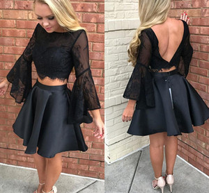 2018 Two Pieces Lace TOp Butterfly Long Sleeves Homecoming Dresses Backless Short Cocktail Gowns Party Prom Dress BA7015
