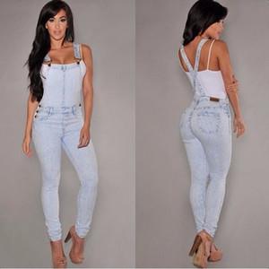 Salopette Denim Femme 2016 Hot Summer Jeans Combinaisons et barquettes Denim Casual Light Blue Poche Complète Bodycon Denim Overalls