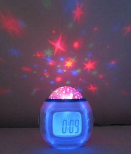 DHL Starry Sky Music Projection Clock 2016 Multi LED Electrónico Relogio Brand Escritorio Mesa Calendario Escritorio Mesa Wekker Despertador