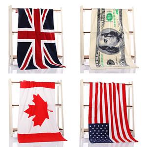 2017 toalha de banho de algodão original 70 * 140 cm praia chuveiro nadar toalha conta de dólar canadá américa bretão bandeira nacional padrão toalha
