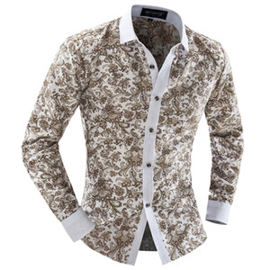 Wholesale-Men Floral Shirt 2016 Summer Dress Fashion long sleeve men casual shirt thin men shirts chemise homme marque