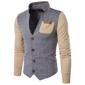 Wholesale free shipping Men Long Sleeve Patchwork Hoodie Jacket V-neck Single Breasted Long Sleeve Coats Moleton Masculino