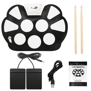New Professional Portable Electronic Roll up Drum Pad Kit Foldable Silicon USB Drum with Stick wholesale