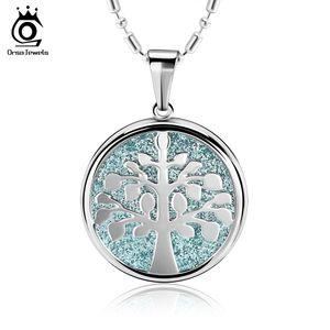 Orsa Рождество желая живое дерево сталь серебро / фиолетовый / синий кулон ожерелье с глазурью поверхности Рождество лучший подарок для друга GTN20