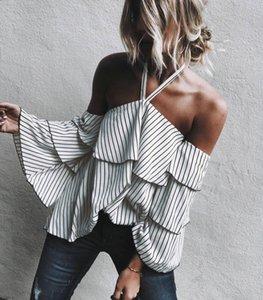 2017 Womens Off Shoulder Long 플레어 슬리브 백 레스 스트라이프 캐주얼 파티 블라우스 Halterneck 프론트 탑 셔츠 Blusas MTL170811