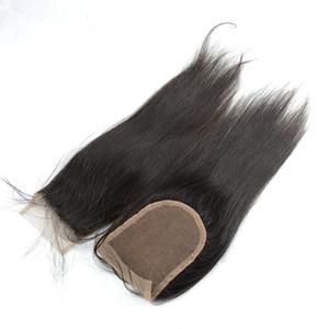 4*4 Human Hair Silky Straight Lace Closure 100% Unprocessed Human Hair Free Middle Side 3 Part Lace Closures
