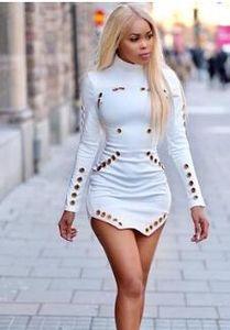 2017 Осень Последние Популярные Женщины Повседневные Платья Hollow Sexy Tight Bodycon Мини-Юбка С Длинными Рукавами Одежда