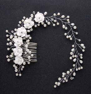 Trend Wedding Hair Jewelry For Bridal Pure White Flowers Pearl Hair Comb Lengthen Headdress HandMade Women Hair Accessories