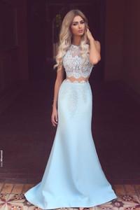 Designer Prom Vestidos Longos Baratos Duas Peças Vestidos de Baile Sheer Top Lace Partido Vestidos de Noite 2016