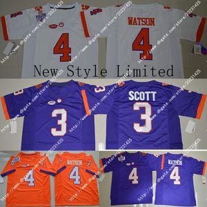 NWT Cheap Clemson Tigers 4 DeShaun Watson Artavis Scott naranja blanco bordado púrpura Logos cosido hombres America College fútbol Jerseys