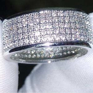 Großhandel - 250Pcs Schmuck Diamonique simuliert Diamant weiß voller Topas 10KT White Gold gefüllt Frauen Ehering Ring Geschenk Sz 5-11