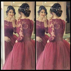 Грейс бордовые платья выпускного вечера пышные бальные платья из кружева с длинным рукавом Dream Princess вечерние платья с аппликациями