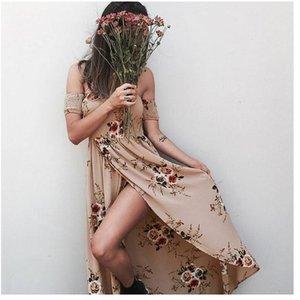 2017 hotsale kadın sahil plaj damga sarılmış göğüs elbise uzun flora baskılı bölünmüş asimetrik kap kollu elbise