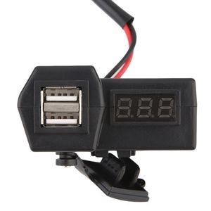 IH Motorcycle GPS impermeable USB Phone Power Outlet Cargador + LED Voltímetro IE (Color: Negro)