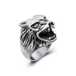 Men's and women vintage wolf stainless steel rings personality designer titanium steel metal mixed rings jewelry accessories