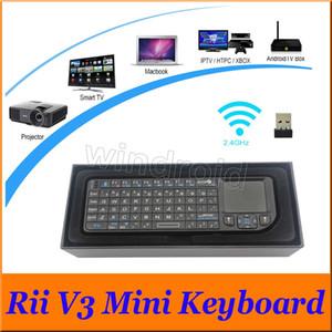 휴대용 초박형 RII v3 블루투스 2.0 미니 키보드 2.4 G 무선 레이저 포인터 PC 터치 스마트 TV 용 마우스 터치 패드와 함께 저렴 한 무료 DHL 30