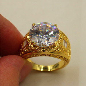 Size 8 9 10 11 Vintage 15ct Round White Simulated Diamond CZ Stone 18K Yellow Gold Filled Ring for Men