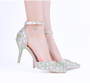 여성 무료 배송 발가락 스트랩 파티 댄스 파티 신발 패션 크리스탈 실버 웨딩 신발 3 인치 미드 힐 라인 석 신부 신발