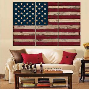 3 Panel Amerikan Amerika Birleşik Devletleri Bayrağı Tuval Duvar Sanatı duvar dekor için tuval boyama Baskı Yok çerçeve