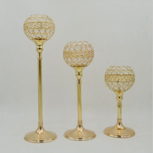 Gold  Silver crystal wedding decoration candle holders event candlesticks party candle stand centerpiece candelabra 1 set= 3 pcs