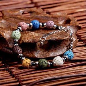 Art und Weise böhmisches Lavastein Multicolor-Armband-Armbänder für Silber Frauen Schmuck Zogene Ätherisches Öl Diffuser-Armband