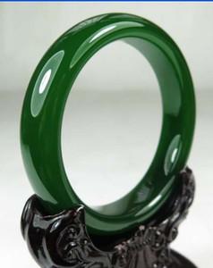 순수 천연 녹색 옥으로 에메랄드 팔찌 인증서와 여성의 보석 녹색 옥 팔찌