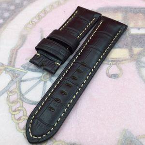 24mm 120mm / 75mm 고품질 블랙 레드 대나무 시리즈 카프 레더 밴드 스트랩 for Pane rai UNMINOR 시계