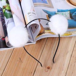 Moda Yapay Sahte Tavşan Kürk Topu Kız Şapkalar Noel Partisi Kafa Prenses Kadınlar Hairband Saç Aksesuarları Xmas hediye
