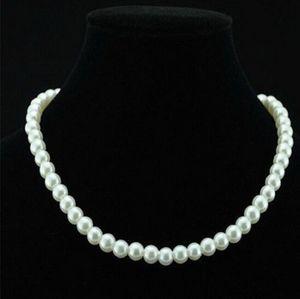 Chic Single Strand imitación perla 6 mm perla babero collar llamativo joyería regalo moda mujer cadena corta joyería fina para mujeres