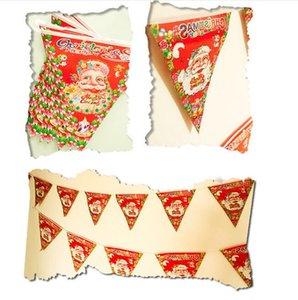Umweltfreundlich Weihnachtsdeko New 25 * 23cm Printed String Flag Supplies Ornamente Weihnachtsmann-Flagge Papier Dreieck Flagge