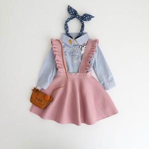 Baby Girls Suéteres Niños Overoles vestido de punto Strap Strap Vestido de niño solo Incluir Vestido 3-8Y E097