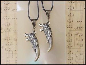 новая мода Волк зубы очарование ювелирные изделия бронзовый волк зуб кулон ожерелье мужская кулон подарок партии унисекс ювелирные изделия любовника подарок 20 шт.