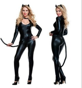Wholesale-E584 Sexy Costumes For Adults Catwomen Cosplay Fancy Halloween Jumpsuit Bodycon Patent Leather Costume Outfits
