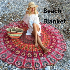 DHL OR SF-EXPRESS Summer Round Beach Blanket Floral Printing Vintage Europe America Beach Blanket for Outdoor Camping Picnic