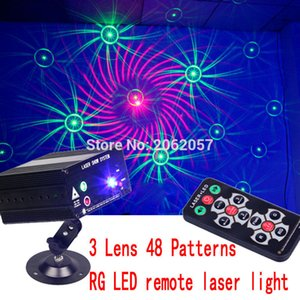 Wholesale-3 Lens 48 Patterns LED a distanza RG LED DJ DISCO light holiday party laser effetto proiettore laser show stage lighting